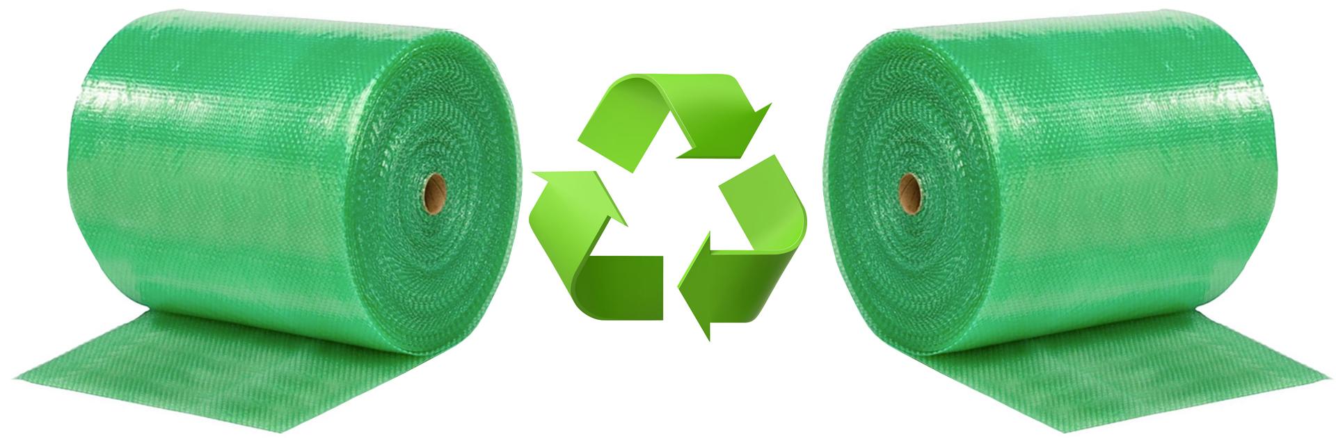 Groen luchtkussen folie van recycled plastic met recycle logo