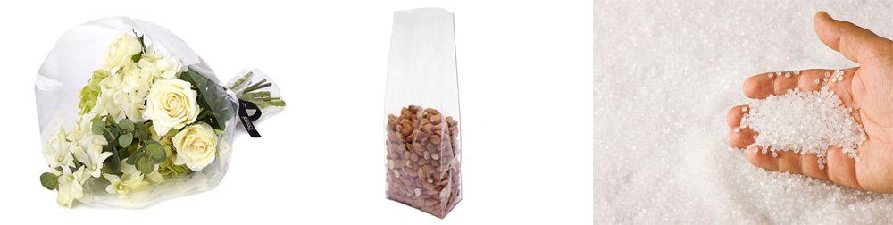 PP producten bloemenfolie, notenzakje en pp granulaat